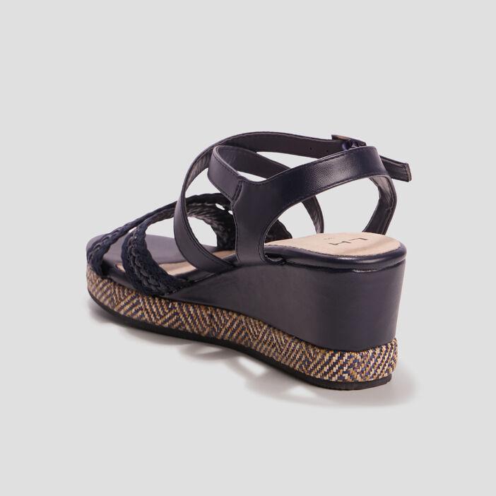 Sandales compensées femme bleu