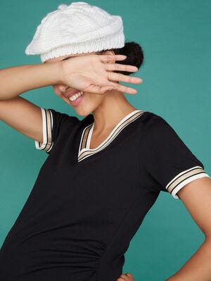 Beret tricot uni avec torsades ecru mixte