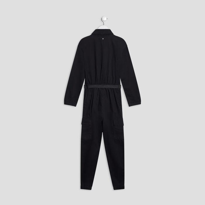 Combinaison pantalon ceinturé fille noir