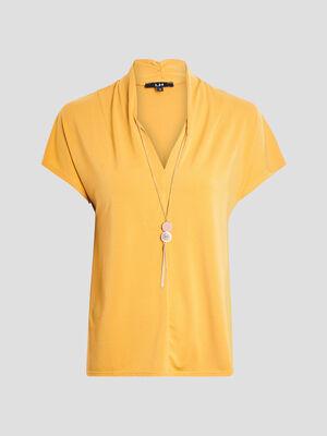 T shirt manches courtes jaune moutarde femme