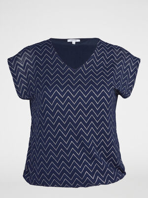 T shirt blousant motifs ajoures devant bleu marine femme