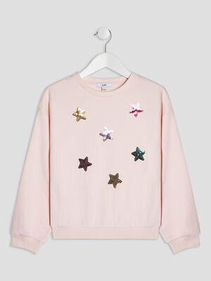 Sweat avec sequins rose fille