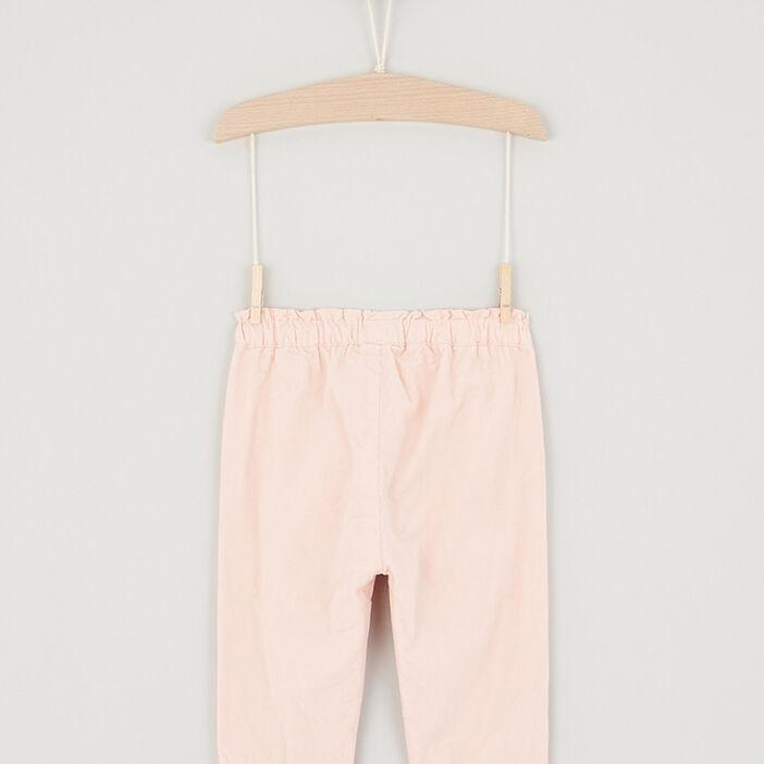 Pantalon avec patch coton bébé fille rose clair