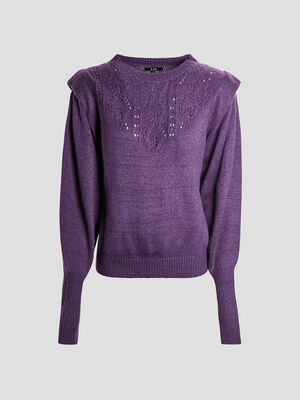 Pull manches longues violet fonce femme