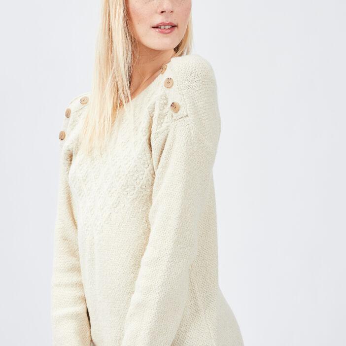 Robe pull droite à boutons femme ecru