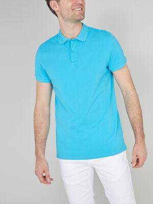 Polo uni manches courtes bleu turquoise homme