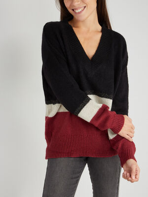 Pull col V a rayures multicolore femme
