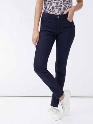 Pantalon skinny taille basse bleu marine femme