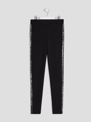 Pantalon legging a sequins noir fille