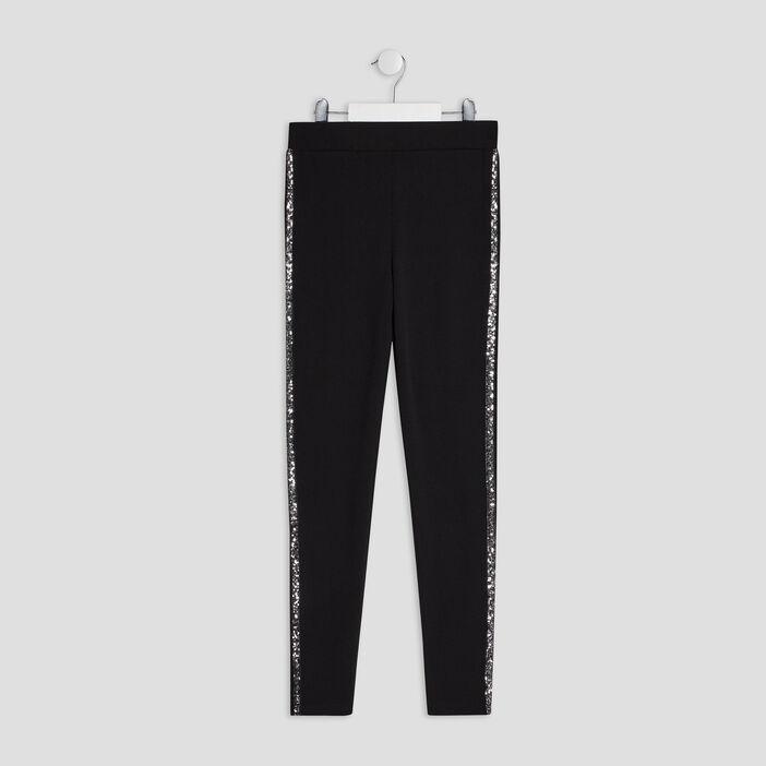 Pantalon legging à sequins fille noir