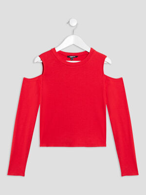 T shirt manches longues rouge fille