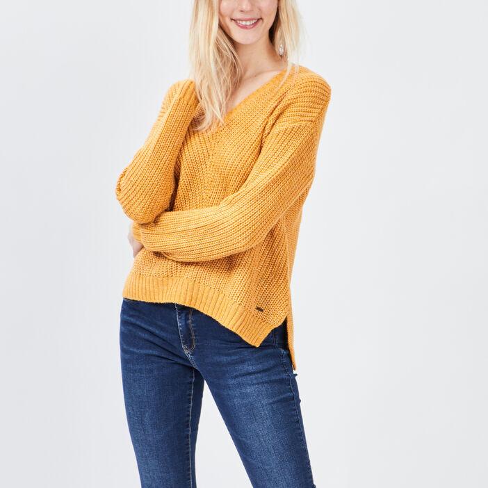 Pull avec col en V Creeks femme jaune moutarde