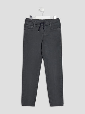 Pantalon jegging a coulisse vert kaki garcon