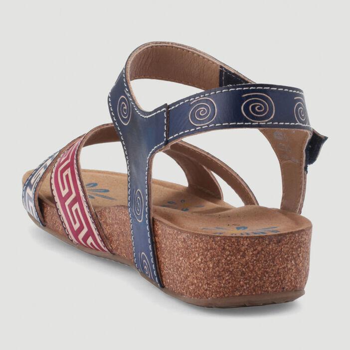 Sandales dessus cuir motifs ethniques femme bleu