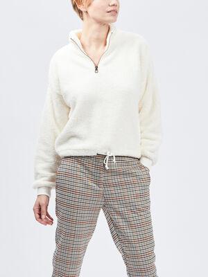 Sweatshirt ecru femme