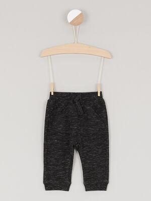 Pantalon uni en maille gris fonce garcon