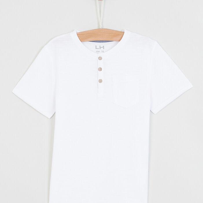 T-shirt uni col rond boutonné garçon ecru