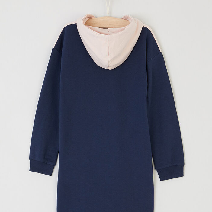 Robe sweat avec capuche fille bleu marine