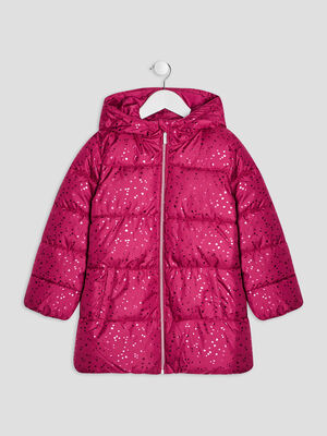 Doudoune droite a capuche rose fushia fille