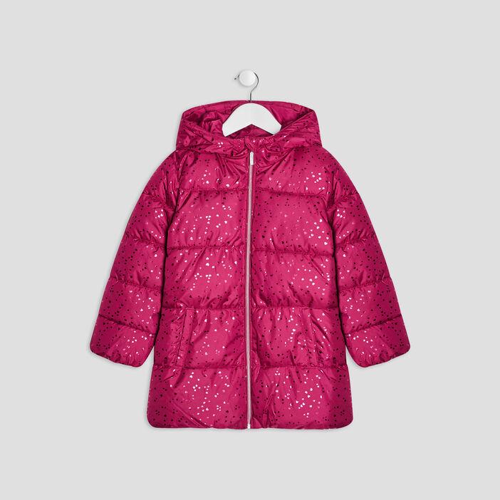 Doudoune droite à capuche fille rose fushia