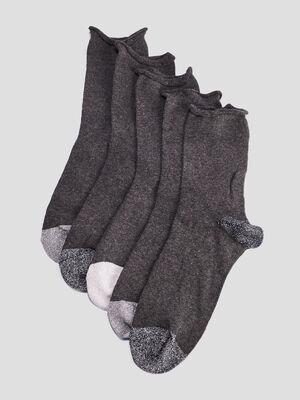 Lot 5 paires chaussettes gris femme