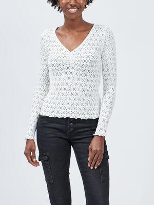 T shirt en dentelle Liberto ecru femme