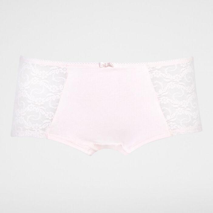 Boxer coton uni avec dentelle femme grande taille rose clair