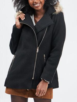 Manteau ample a capuche noir femme