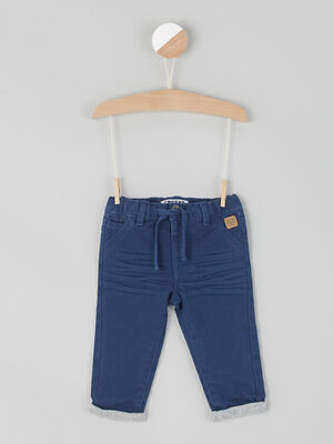Pantalon droit en coton bleu marine garcon