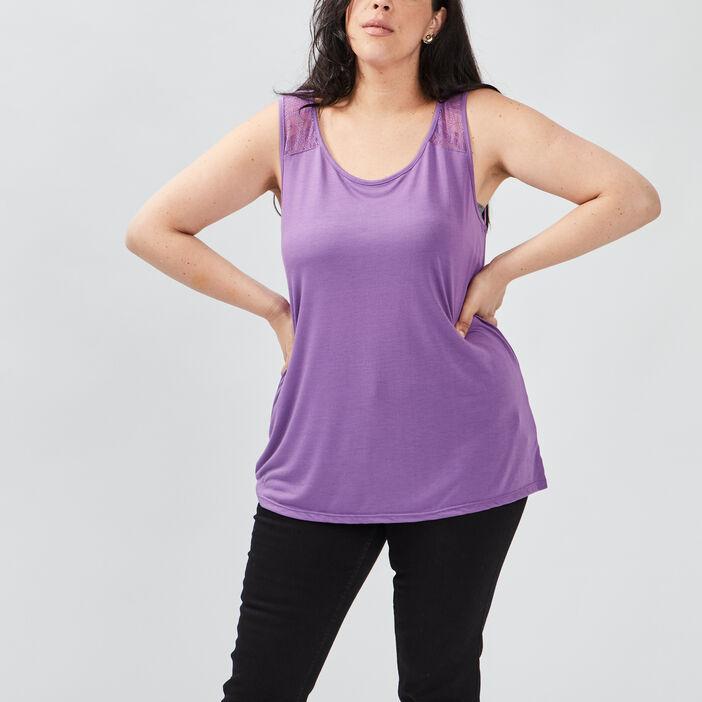 Débardeur bretelles larges femme grande taille violet