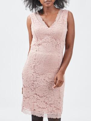 Robe ajustee sans manches rose femme