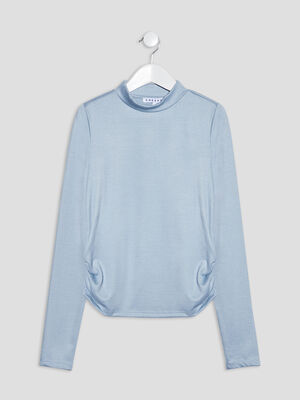 T shirt manches longues bleu fille