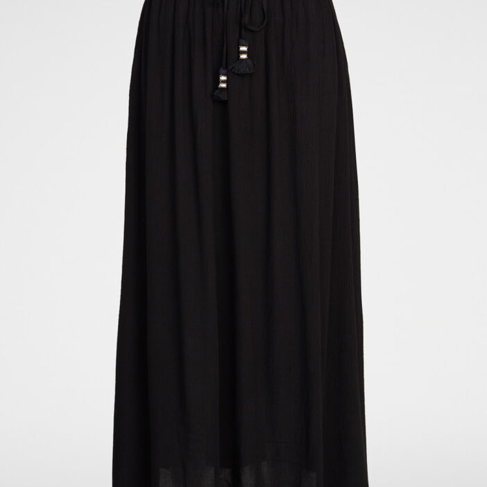 Jupe longue droite fluide femme noir