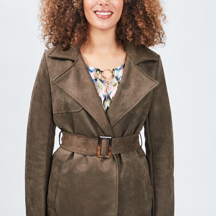 Manteau droit ceinturé suédine femme vert kaki