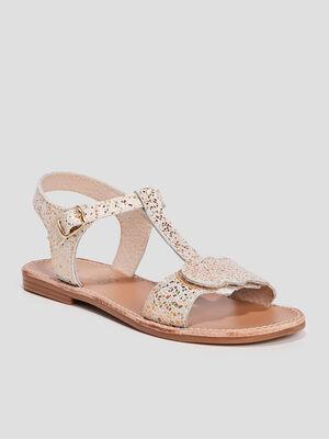 Sandales en cuir couleur or fille