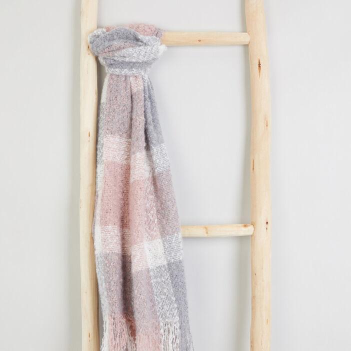 Écharpe à carreaux multicolores fille rose