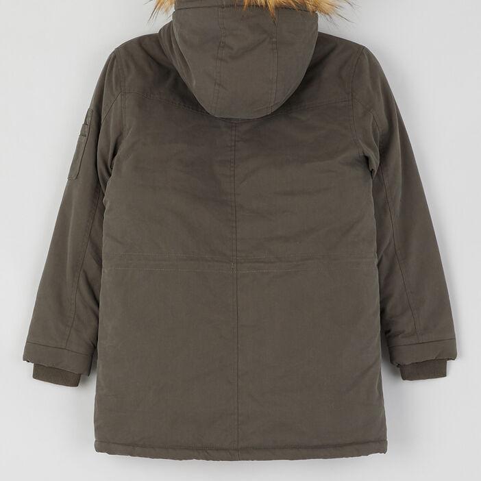 Manteau boutonné à capuche garçon vert kaki