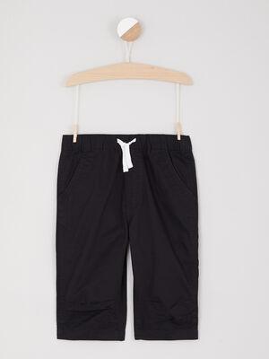 Short uni taille extensible noir garcon