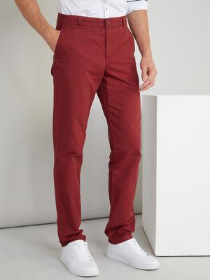 Pantalon droit coton poches passepoilees orange fonce homme