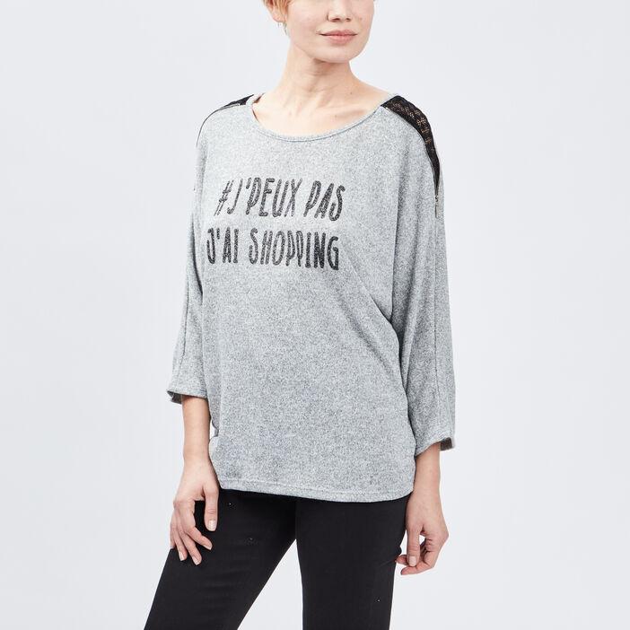 Pull avec détails dentelle femme gris