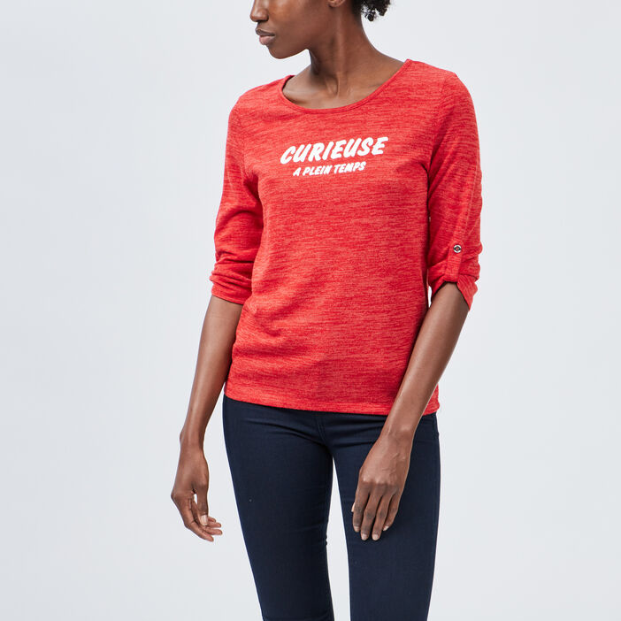 Pull manches 3/4 femme rouge