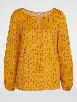 T shirt imprime avec col lace jaune moutarde femme