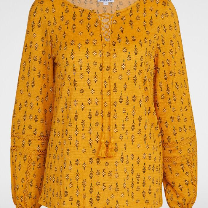 T-shirt imprimé avec col lacé femme jaune moutarde