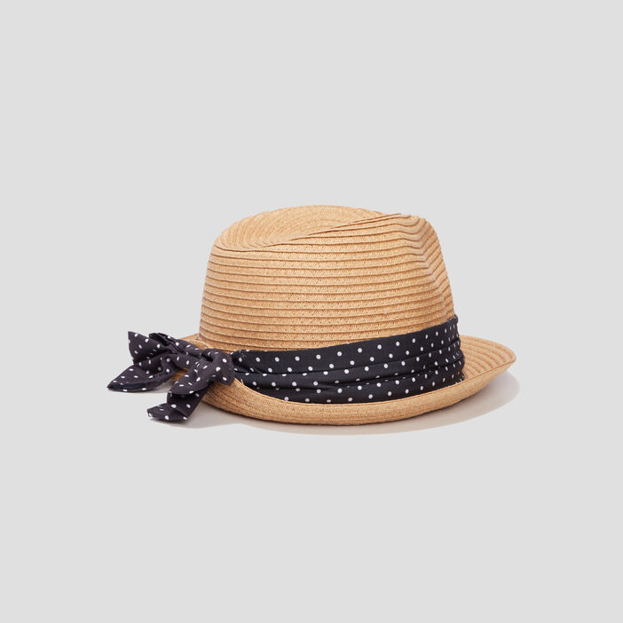 Chapeau tressé à ruban femme marron
