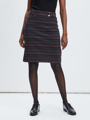 Jupe droite taille haute multicolore femme