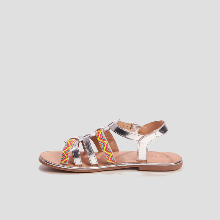 Sandales en cuir avec perles Creeks fille couleur argent