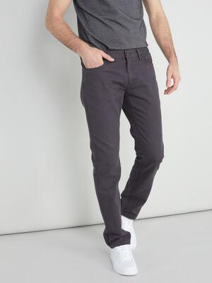 Pantalon regular coton uni gris fonce homme