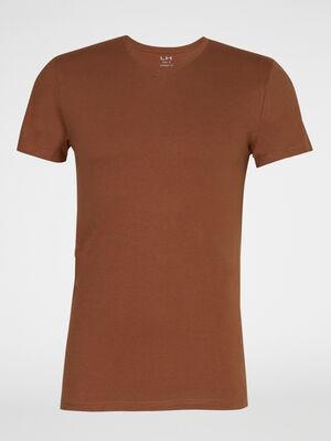 T shirt col V en coton camel homme