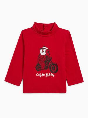 T shirt a col roule rouge garcon