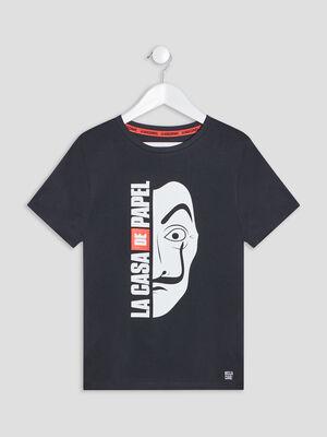 T shirt Casa de Papel noir garcon